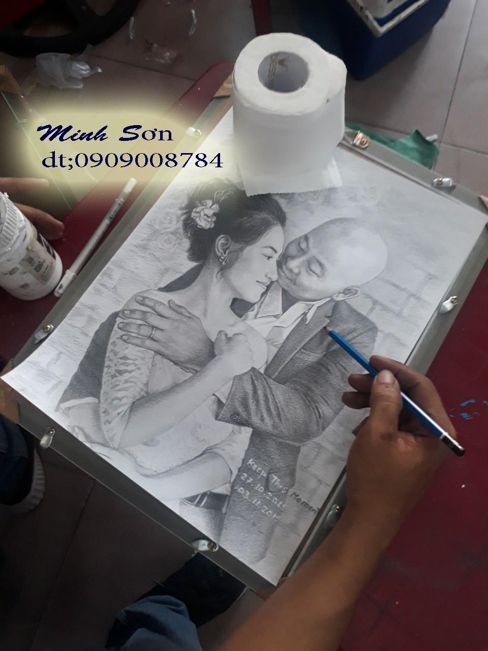 vẽ chân dung bút chì A 3