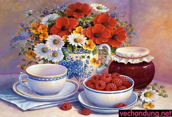 tranh tinh vat hoa và trái cây 50x60