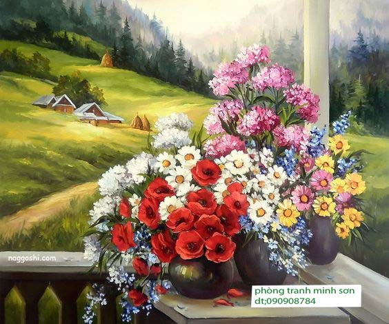 tranh sơn dầu tỉnh vật hoa 60x80