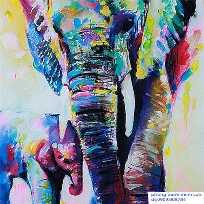tranh con voi 50x60