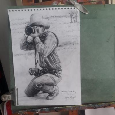 vẽ bút chì nhiếp ảnh gia
