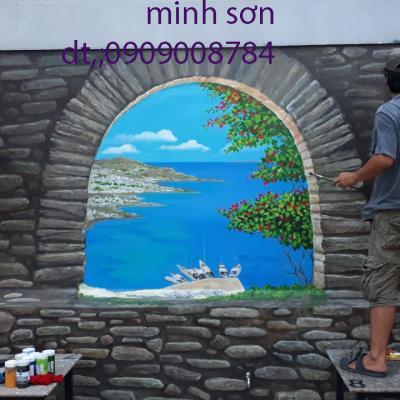 vẽ tranh tường phong cảnh giả đá