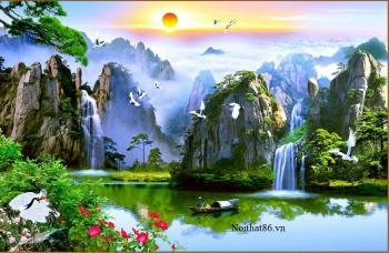 Sơn thủy hữu tình - phong cảnh hùng vĩ của thiên nhiên  Bức tranh sơn thủy hữu tình vừa có sông nước, vừa có đồi núi, trời cao, mây trắng... tất cả hòa quyện mang ý nghĩa của sự hòa quyện giữa trời