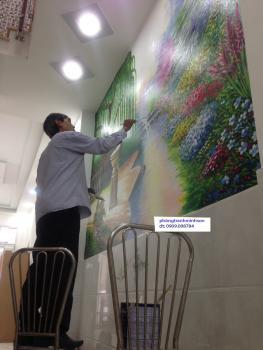 vẽ tranh tường cho khách